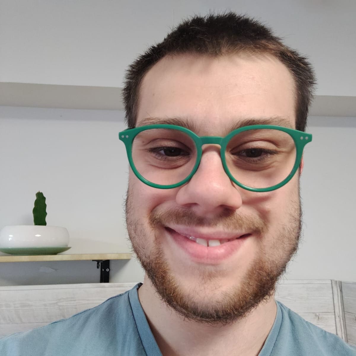 male with green eyeglasses for rainbow glasses collection
